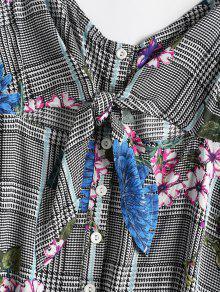 Vestido Parte Floral De Negro Mini L Delantera Fiesta zTr6xz