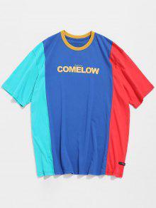 تباين الألوان كتلة نمط القميص - أزرق Xl