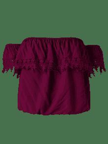 Blusa Y Hombros Redondo Tinto Cuello Con Vino Xl Descubiertos qRrwx74aq