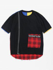 Color Zip Block Rojo 2xl Checked Tee BnBxr4HFT