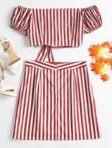 Shoulder S Rojo Set Amo Striped Off Skirt 715qBw6Tx