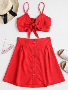 Bralette Top Mini Skirt قطعتين مجموعة - أحمر M