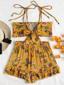 Tie Front Smocked Top And Shorts Set - بني ذهبي L