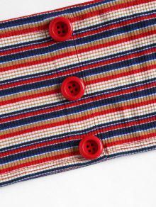 S Botones Tubo Arriba Acanalado Rojo 7PRvPB6