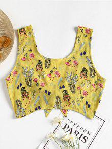 S Lazo Con Sin Mangas Floral Top Amarillo qzF1wx