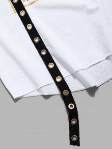 Ojal Dobladillo Blanco Sin De En Mangas Con Camiseta o 2xl Dise cwgtZxqCx8