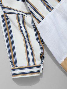 Descubiertos A L Casual Camisa Blanco Hombros Con Rayas qWtvxx4HTw