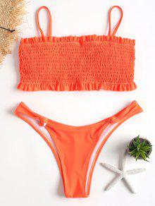 Smocked High Cut Bikini - برتقالي قاتم L