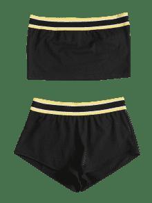 De Top L Piezas Shorts Bandeau Dos Conjunto Negro 1BtwTqxqF