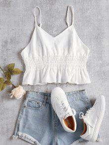 Blanco M Frilled Top Cami Sin Mangas SUqxIX