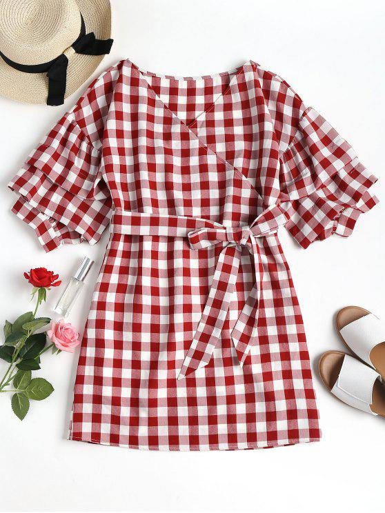affordable Mini Plaid Wrap Dress - CHESTNUT RED L