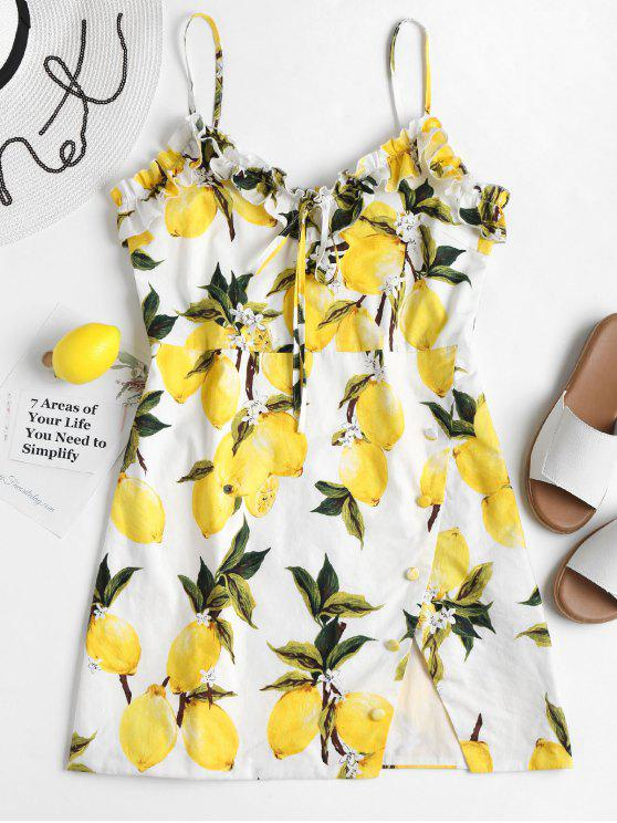 ladies Mini Lemon Print Cami Dress - YELLOW XL