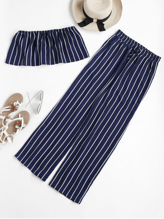 buy Striped Tube Top and Pants Set - DEEP BLUE XL