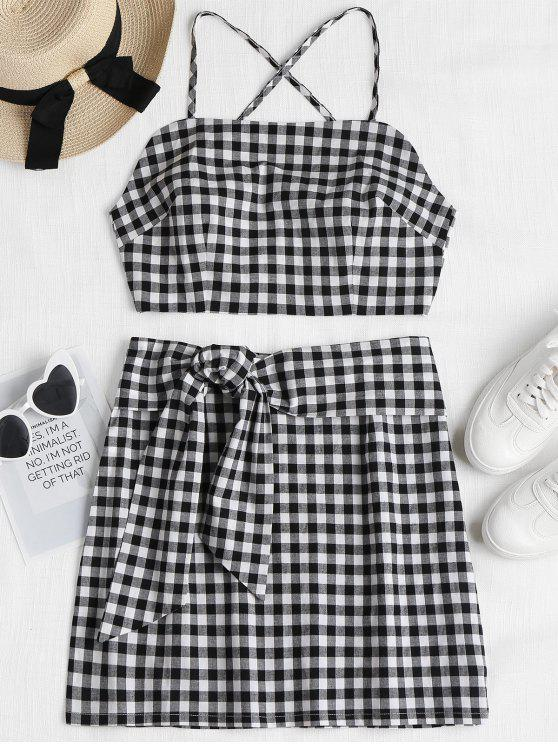 chic Plaid Cami Top and Skirt Set - BLACK L