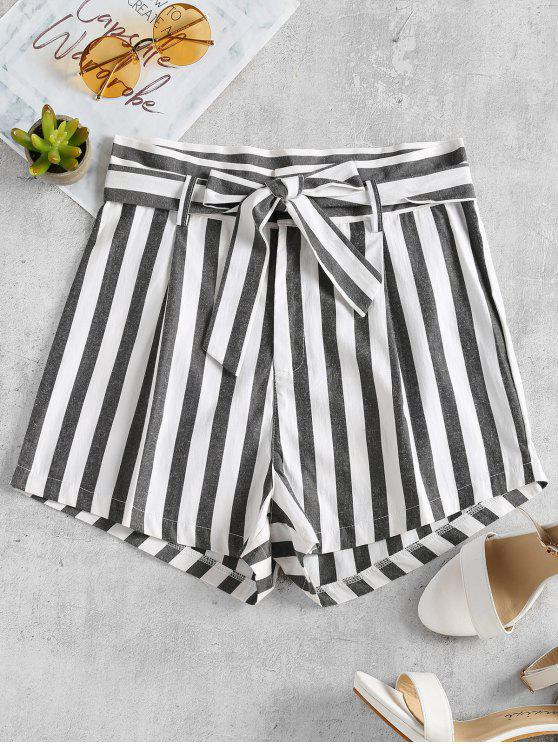 lady Stripes Belted Shorts - WHITE L
