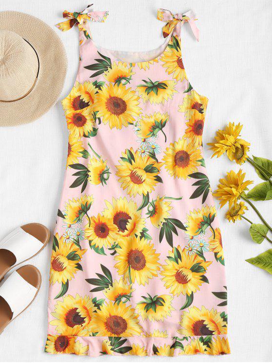 shop Ruffle Hem Sunflower Dress - LIGHT PINK M