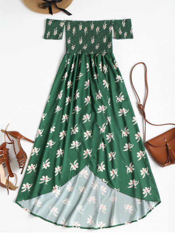 Smocked معطلة الكتف فستان زهري - متوسطة غابة خضراء L