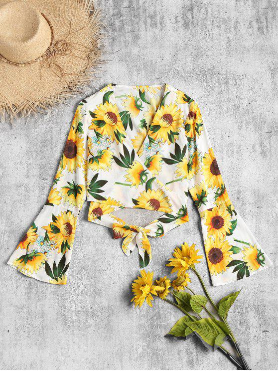 Sunflower Print Wrap Blouse   White S by Zaful