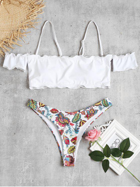 hot Printed Lettuce Off The Shoulder Bikini - WHITE M