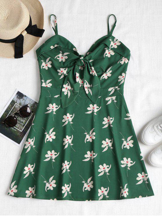 latest Floral Print Knotted Cami Dress - MEDIUM FOREST GREEN M