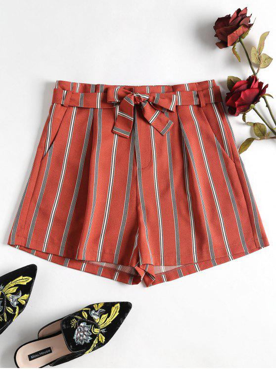 trendy Striped Belted Shorts - CHESTNUT RED M