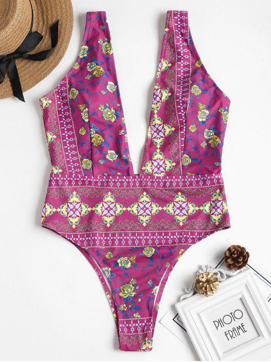 ladies Printed Plunge Swimsuit - MEDIUM ORCHID M