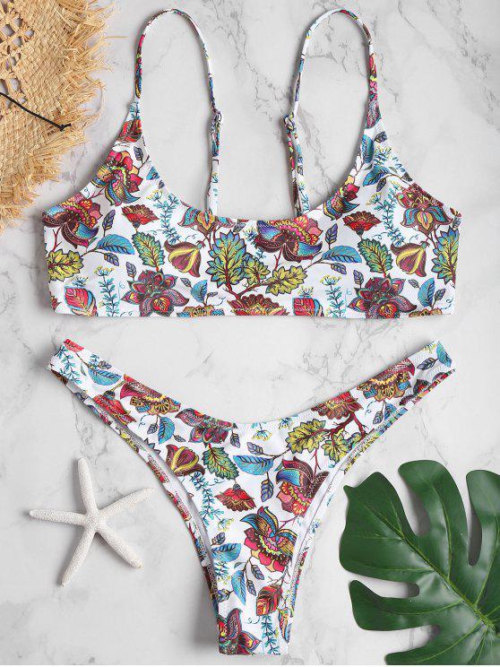 Bikini A Taglio Alto Plus Size Con Stampa Di Pianeta - Bianca 1X