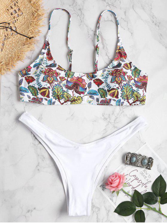 Bikini Bralette Plus Size Con Stampa Di Piante - Bianco 1X
