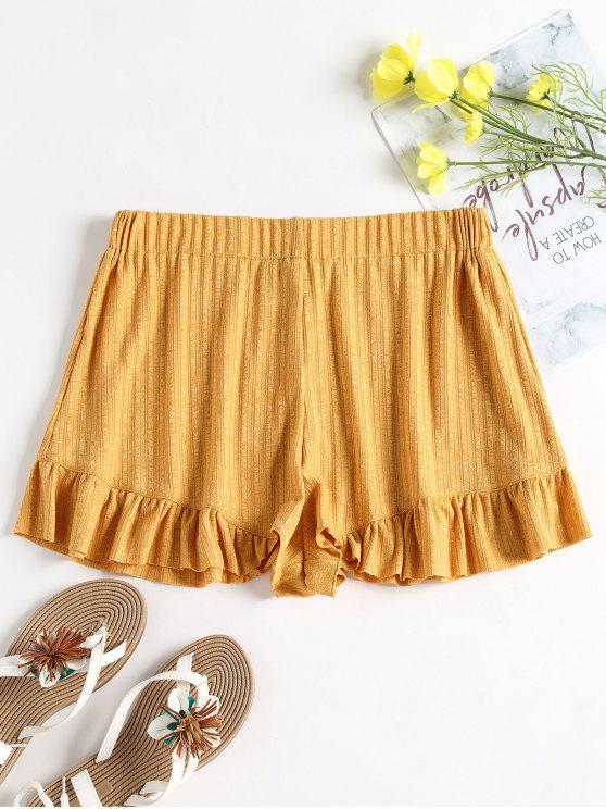buy Ribbed Ruffle High Waisted Shorts - BEE YELLOW S