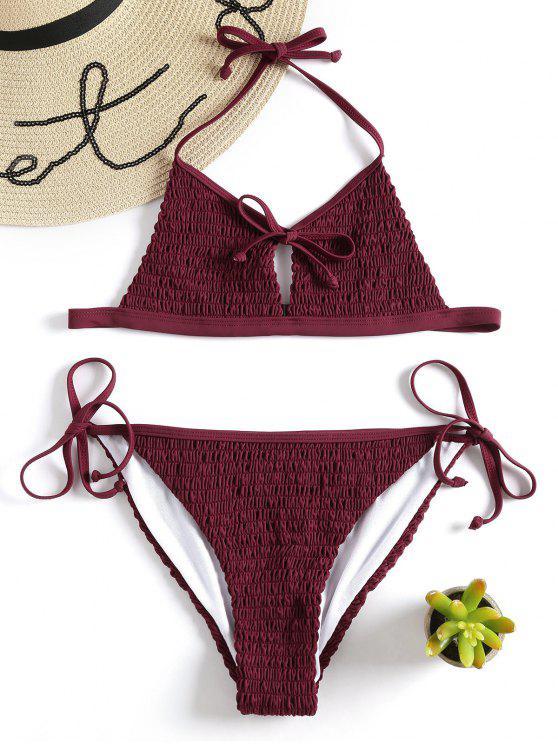 Bikini A Punto Smock Con Lacci Laterali - Vino Rosso S