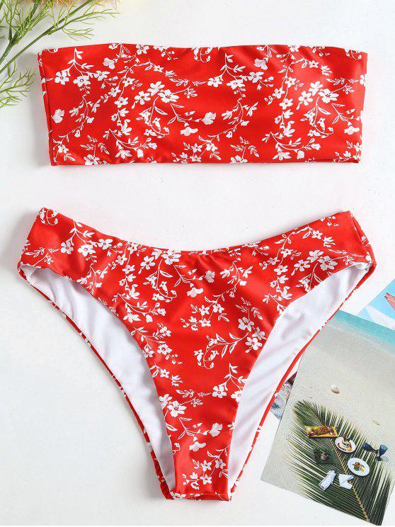 Conjunto de bikini floral bandeau - Rojo L