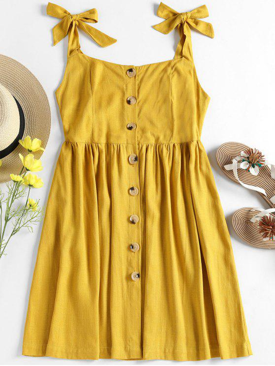 chic Tied Straps Button Up Dress - GOLDENROD S