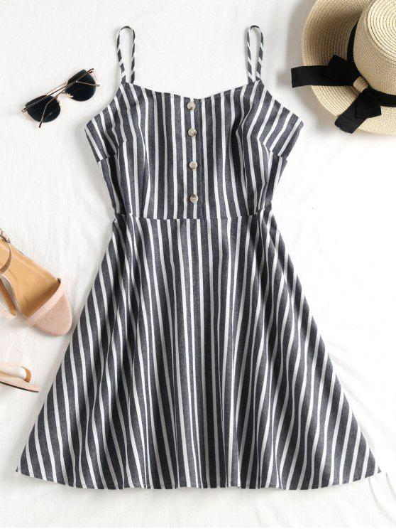 outfits Buttoned Striped Cami Dress - MIST BLUE S