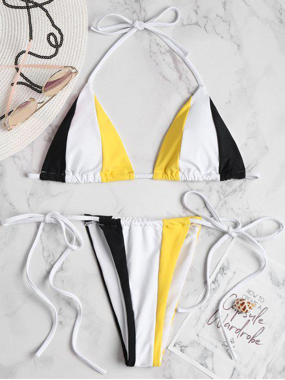 fancy Color Block String Bikini Set - MULTI-A L