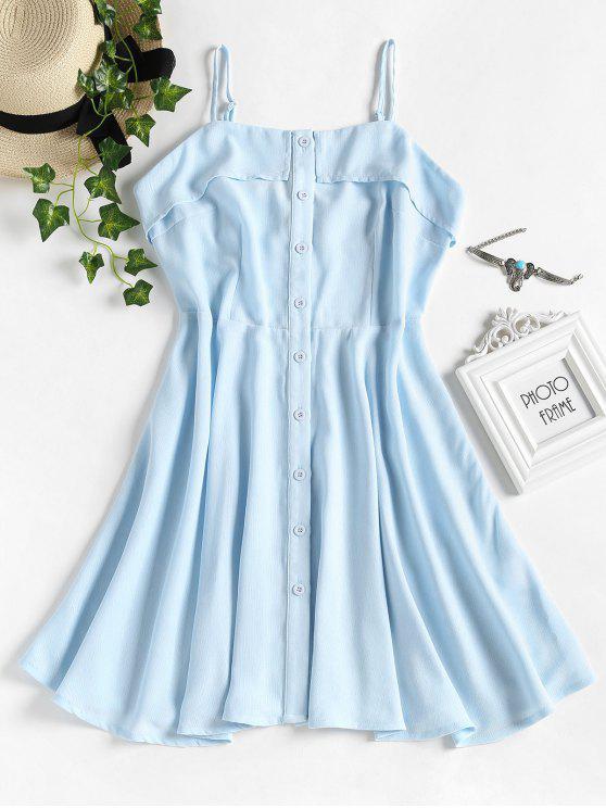 Botão para cima vestido de cami - Azul Claro S