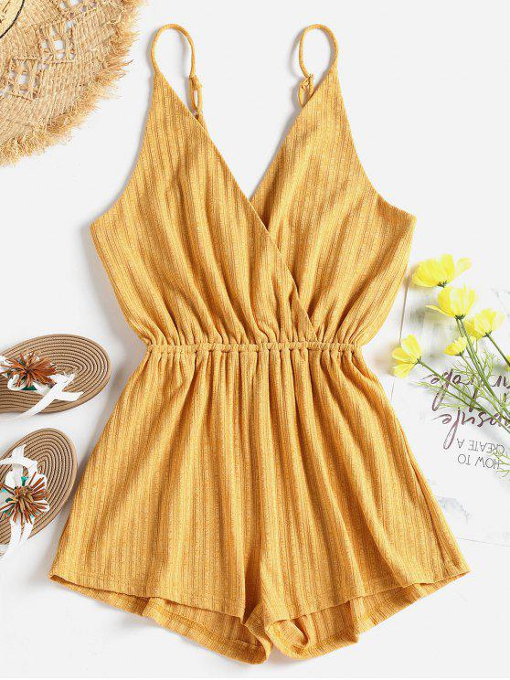 hot Ribbed Surplice Cute Cami Romper - BEE YELLOW S