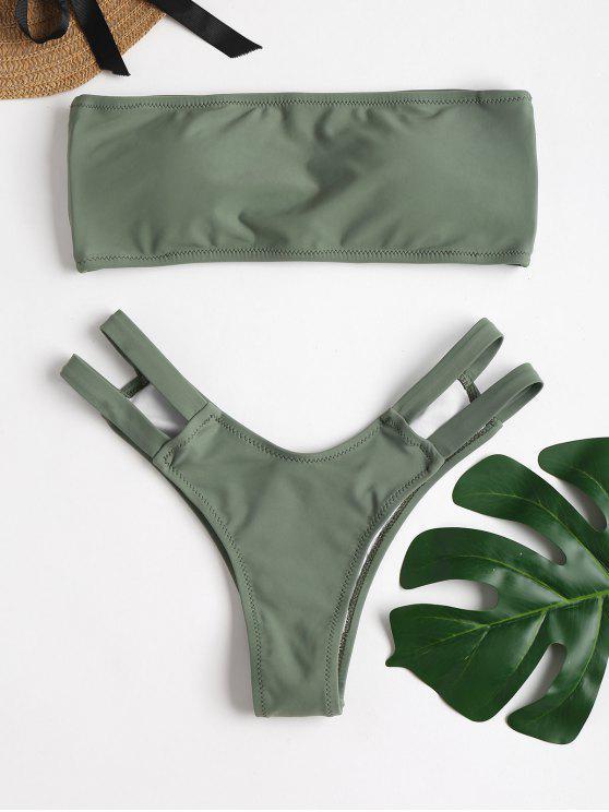 affordable ZAFUL Strappy Back Bandeau Bikini Set - DARK SEA GREEN L
