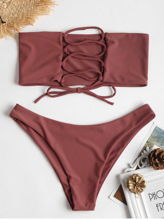 best ZAFUL Unlined Back Lace-up Bandeau Bikini Set - ROSY FINCH M