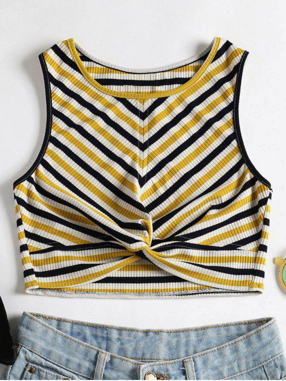 online Stripes Twist Tank Top - MULTI L