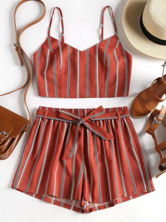 lady ZAFUL Striped Cami Belted Shorts Set - CHESTNUT RED M