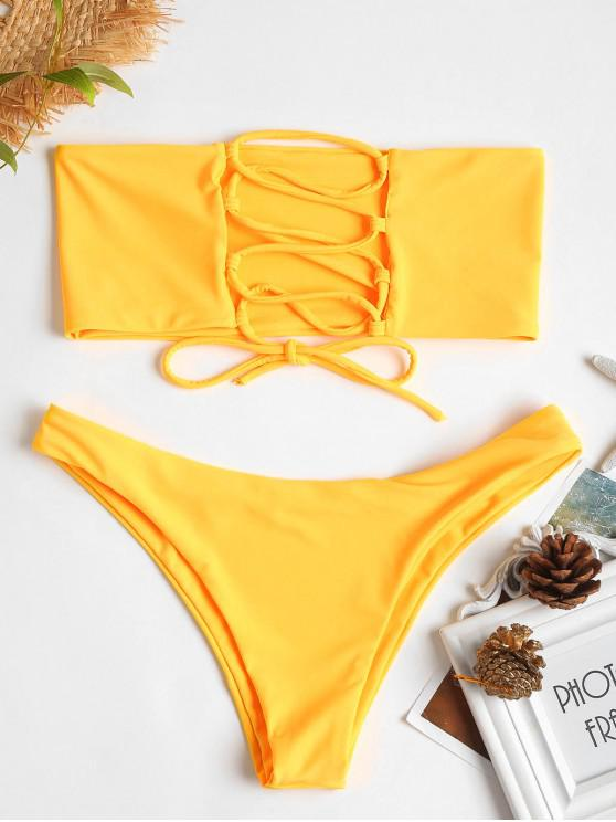women's ZAFUL Unlined Back Lace-up Bandeau Bikini Set - MUSTARD M