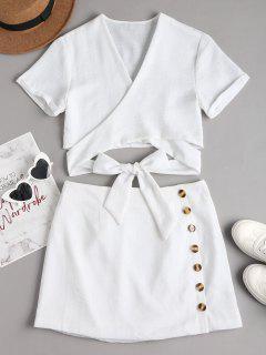 Wrap Top And Mini Skirt Set - White L