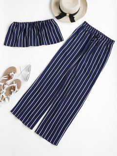 Striped Tube Top And Pants Set - Deep Blue L