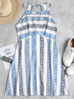 Open Back Printed Cami Dress - Light Blue L