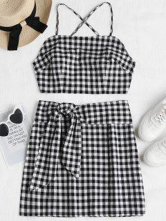 Plaid Cami Top And Skirt Set - Black S