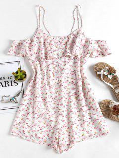 Floral Ruffle Cute Cold Shoulder Romper - White S