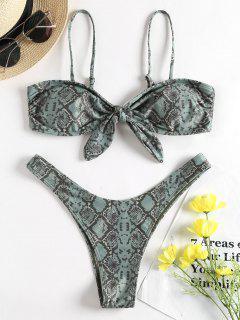Bowknot Snakeskin Bikini Set - Dark Sea Green M