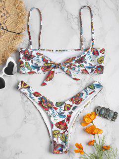 Pflanze Druck Hohes Bein Bikini Set - Weiß L