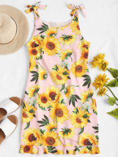 Ruffle Hem Sunflower Dress - Light Pink S