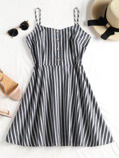 Buttoned Striped Cami Dress - Mist Blue S